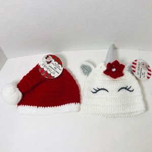 Other - 2 pack new crocheted baby hats with faux fur trim